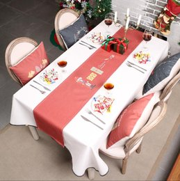 2019 corredores da tabela do partido de borgonha Nórdico INS Mesa de Natal decorações de pano toalha de mesa Para Festa de Casa Papai Noel Tapeçaria Poinsétia Mesa Corredor de Pano Cobertura
