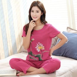 c92d21d189 Female Pajamas Set Sleepwear New Print Chinese Women Cotton Linen Pyjamas  Suit Flower Nightwear Summer Floral Casual Loose Suit
