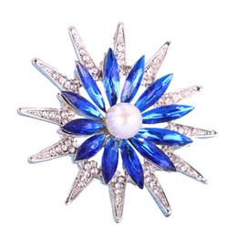 DISHRANWedding noiva dual-purpose Pearl Rhinestone Broche lago azul pin cachecol com jóias de cristal de safira presentes senhora acessórios de