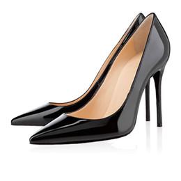 2019 Diseñador de la marca de moda de lujo zapatos de mujer zapatos de tacón alto con fondo rojo 8 cm 10 cm 12 cm Nude negro rojo Piel de punta estrecha Bombas Zapatos de vestir desde fabricantes