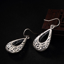 Pendientes tailandeses online-2018 Top Fashion Real Anniversary Water Drop Brinco 100% 925 Sterling Earrings para Vintage Hollow Retro Thai Jewelry