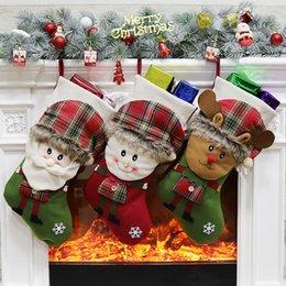 doces dos cervos Desconto Christmas Stocking Meias Decoração doces Sacos de presente para Papai Noel Boneco de cervos de Natal Decoração Árvore de presente Brinquedos XD21607