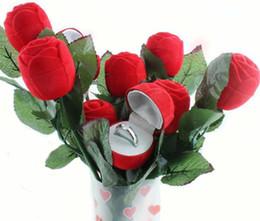 2019 caixas de jóias de embalagem de veludo Caixa de Anel de Rosa Vermelha Caixa de Presente de Casamento De Veludo Originalidade Moda Caixa de Noivado Dos Namorados Caixa de Embalagem de Jóias caixas de jóias de embalagem de veludo barato