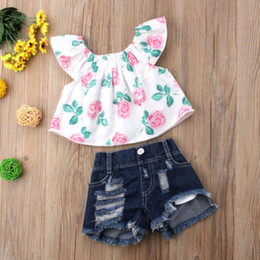 16c45cb0564 cute denim outfits 2019 - 2PCS Toddler Kids Baby Girls clothes Flower short  sleeve Clothes Outfit