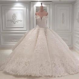 Argentina Vestidos de novia de lujo con cuello en forma de corazón Apliques de encaje Vestido de fiesta Barrer Tren Vestidos de novia Vestido de Novia 2019 BC0388 Suministro