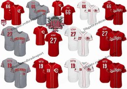 c6b1bb37236 Custom Cincinnati Reds Jersey 2019 Spring Training 150th 66 Yasiel Puig 27  Matt Kemp 19 Joey Votto Flex Base Los Rojos Baseball Jerseys