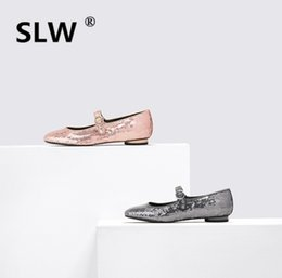 bling pointed toe flats Promo Codes - Casual Lace-Up Microfiber Rubber Pointed Toe Sequined Cloth Shallow Basic women flat Bling autumn spring silver PU new 2019