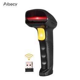 2019 lector de código de barras Aibecy 2-en-1 2.4G Escáner de código de barras inalámbrico Escáner de código de barras con cable USB Lector de código de barras de mano 1D de mano rebajas lector de código de barras