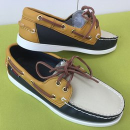 boat decking Coupons - Casual Men PU Leather Docksides Deck Lace-up Moccasin Boat Loafers Shoes Fashion 22Colors Unisex Plus Size
