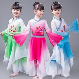 kind chinesisch tanz kostüm Rabatt Neue Chinesische Art Neue Art Kinder Hmong Klassische Tanzkostüme Mädchen Regenschirm Tanzkostüm Tracht