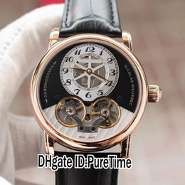relógio double tourbillon Desconto Novo Nicolas Rieussec U0105920 Rose Gold Black Dial Duplo Tourbillon Automático Mens Watch Black Leather Relógios Desportivos Puretime MBLC12c3