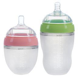Biberón leche de bebé online-Biberones para bebés recién nacidos con sensación natural Biberón de silicona para lactantes Bebiendo biberón suave 150ml / 180ml / 250ml C5829