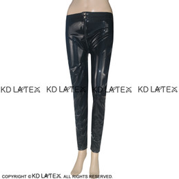 e4b3762188ea29 Black Sexy Latex Leggings with Zipper Buttons At Front Fetish Bondage Rubber  Pants Jeans Trousers Bottoms 0002