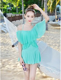 swimming dresses Coupons - 5 Colors Unique Design Women's Swimming Suit Skirt Bathing Suits One Piece Swimwear Solid Swimsuit Beach Dress Ladies M-2XL