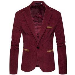 Ternos de veludo cotelê para homens on-line-Slim Fit Blazer Men Corduroy Casual Red Plus Size Blazers Men Suits Wedding Casaco Masculino Jacket Casual Formal inteligente 6X04