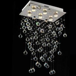 2019 lustres de cristal de retângulo Modern Lustre Retângulo Iluminação Sala de Jantar Pendurado Lâmpada de Cristal de Luxo Cozinha Ilha LED Cristal Lustres GU10 90-265 V