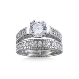 Роскошные твердые стерлингового серебра 925 2 шт обручальное кольцо свадебный набор для женщин 1 карат Принцесса вырезать ювелирные изделия размер 6789 10 11 12 от Поставщики оптовые кольца om
