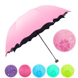 Guarda-sóis de cúpula on-line-New Hot Simples Moda Mulheres Umbrella Protetor Solar À Prova de Vento Mágico Flor Cúpula Parasol Ultravioleta-prova Sol Chuva Dobrável Guarda-chuvas
