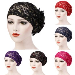 11878abfb295f winter caps for Women Lace Floral Muslim Ruffle Cancer Chemo Hat Beanie  Turban Head Wrap Cap gorros women hat bonnet femme head wraps for black  women for ...