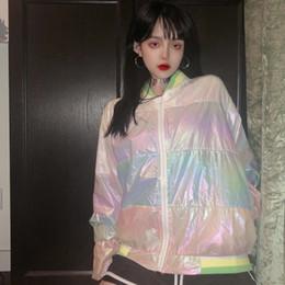 giacche da giacca lunga coreana Sconti Harajuku donna giacche primavera estate sottile bling multicolore a strisce cappotti cerniera manica lunga Abbigliamento streetwear donne coreane