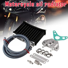 125cc engines Promo Codes - Motorcycle Engine Oil Cooler Aluminum Cooling Radiator Kit for 125CC 140CC 150CC NR-shipping