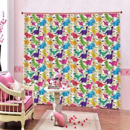 lindas cortinas de baño Rebajas Cortinas animal lindo coloridas cortinas de ventana dinosaurio de poliéster para cuarto de baño salón de casa con climatizador, Decoración