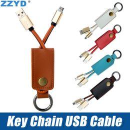 Cabo usb portátil universal on-line-Zzyd chaveiro cabo de couro durável cabo usb cabo relâmpago portátil para iphone 7 8 x samsung