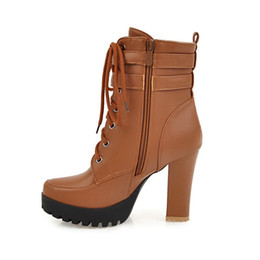 Deutschland Chunky High Heels Damen Stiefeletten Lace Up Herbst Winter Plattform Damen Stiefel Große Mode Schuhe Weiß Schwarz Braun 2019 Versorgung