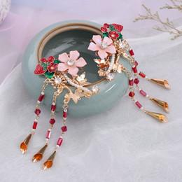 Joyería del pelo de la novia china online-Clips de alta moda china Hanfu cristal simulado perlas borla larga de las horquillas del pelo del partido de la joyería tocados de novia boda Noiva