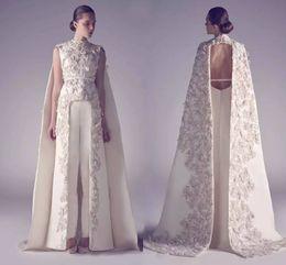 Wholesale Robes de soirée arabes col haut longues robes de bal Applique gaine Pageant Split avant meilleures robes de soirée