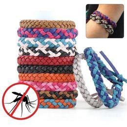 anti-moskito-abweisendes armband armband Rabatt Schädlingsbekämpfung Anti Mückenschutz Armband Stretchable Leder Woven Hand Armband Für Erwachsene Kinder Bug Insektenschutz Armband