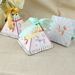rosa band süßigkeiten geschenke Rabatt 100 stücke Nette Pralinenschachtel Baby Pferd Blau Rosa Gold Band Papier Geschenkboxen Dekoration Für Kindergeburtstagsfeier DIY Baby Shower Supplies