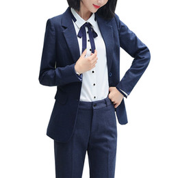 Женские формальные блейзеры онлайн-Womens Formal Suits Workwear Office Uniform Designs Women Office Suits Blazers Feminino Spa Uniform Elegant Business Pant