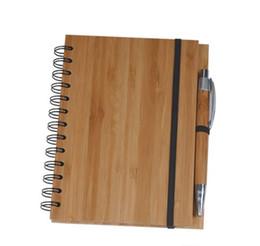 Madera de bambú cubierta del cuaderno espiral Bloc de notas con la pluma de 70 hojas de papel rayado reciclado libre de DHL 489 desde fabricantes