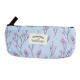 2019 saco de cosméticos estilo caso de lápis Estilo Floral Lápis Caso Canvas Pen Bag Cosmetic Maquiagem Armazenamento Bag Zipper Pencil Box saco de cosméticos estilo caso de lápis barato