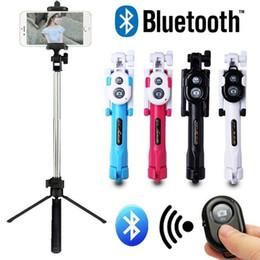 Stand di bastoni selfie online-Nuovo portatile estensibile portatile Bluetooth Remote Shutter Selfie Phone Stick treppiede monopiede telecomando Stand Holder