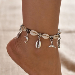 seahorse charm bracelet Coupons - NEWBUY Silver Color Dolphin Seahorse Charm Bracelets For Ankle Hot Sale Boho Natural Shell Anklets For Women Girl Gift