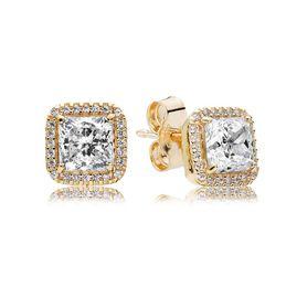 925 Sterling Silver Square Big CZ Diamante Brinco Fit Pandora Jóias de Ouro Rosa Banhado A Ouro Brinco Brinco Mulheres Brincos de