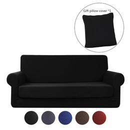 Super elástico macio on-line-Stretch Sofa Slipcover Sofá 2 Peças Sofá Protetor de Móveis Micro Fibra Super Macio Resistente com Fundo Elástico