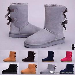 2019 botas de camurça azul sapatos de meninas Austrália clássico botas altas das mulheres Hot Sale New WGG Mulheres menina Suede neve botas de inverno botas fúcsia azul vermelhos sapatos ao ar livre botas de camurça azul sapatos de meninas barato