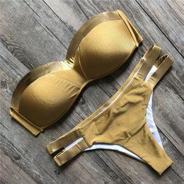 Мягкий спортивный купальник онлайн-Fantastic Women Swimwears Sexy Bikini Set Hot Stamp Sport Swimwear Push-Up Padded Swimsuit Fabulous Women's Swimming Suit