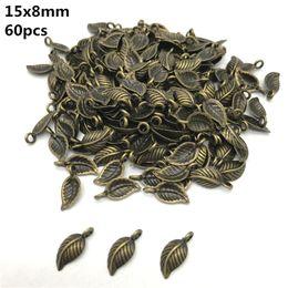 Canada 8x15mm 60pcs alliage perles chapeau antique bronze charmes feuilles forme pendentif charmes pour la fabrication de bijoux bricolage accessoires PJ026 supplier antique bronze bead caps Offre