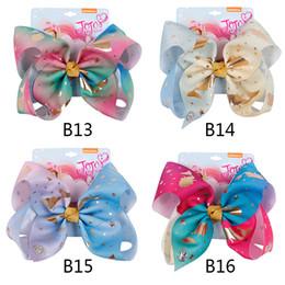 2019 sirenas arcoiris 8 pulgadas JOJO arco niña arcos de pelo Flores Rainbow Mermaid Unicorn Design Girl Clippers Pinzas para el cabello de las niñas JOJO SIWA Accesorio para el cabello sirenas arcoiris baratos