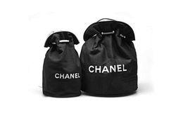 Großer kordelzug online-Reise tragbare große Kapazität Drum Bag Drawstring Aufbewahrungstasche Make-up Taschen Fashion Logo Black Canvas Handtasche Rucksack