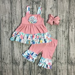 baby floral belts Promo Codes - new summer outfits baby girls kids coral floral flower condole belt top cotton ruffles stripe capris set with accessories bow