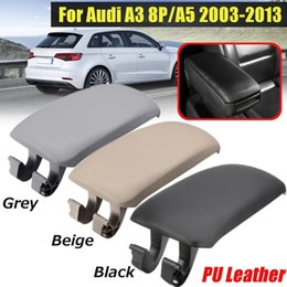 PU Leather Center Console Armrest Cover Lid For Audi A4 B6 B7 2002-2008 Black T1