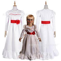 Trajes assustadores on-line-Costumes Mulheres Criança Kid Halloween ConjingDoll Annabelle vestido branco Horror Feminino assustador desgaste Cosplay Fancy Dress trajes de Mascote