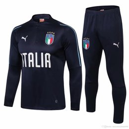Conjunto completo de jersey online-La mejor venta nuevo 18 19 Italia equipo nacional chándal Verratti Fútbol traje de entrenamiento 2019 Italia chaquetas cremallera completa BONUCCI conjuntos de camisetas de fútbol