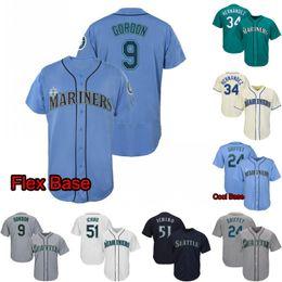 32d8877c7 Mens Seattle Jersey 51 Ichiro Suzuki 24 Ken Griffey Jr. 11 Edgar Martinez 17  Mitch Haniger 34 Felix Hernandez Mariners Baseball Jerseys