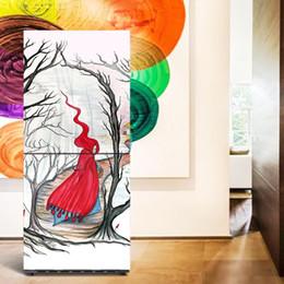 2019 ropa al por mayor del festival Venta al por mayor Mujer con ropa roja Lavaplatos autoadhesivo Refrigerador Congelación Etiqueta Arte de la puerta de la puerta del refrigerador del niño Wallpaper rebajas ropa al por mayor del festival